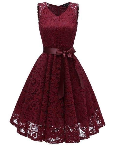 Womens Vintage V Neck Sleeveless Belt Tunic Floral Lace Wedding Party Tank Dress Bridesmaid A Line Dresses Robe Vestidos