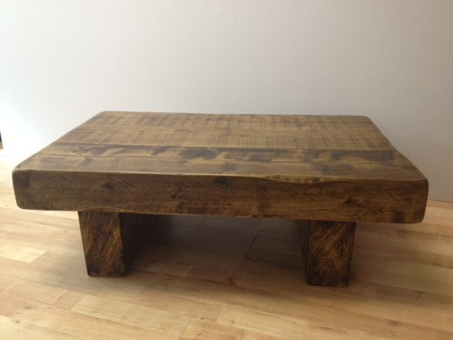 Gentil 3ft X 2ft Wood Coffee Table Chunky Rustic Beam 130 00 Для