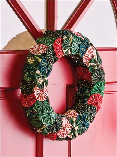 Quilting - Holiday  Seasonal Patterns - Christmas Patterns - Yo-Yo Wreath