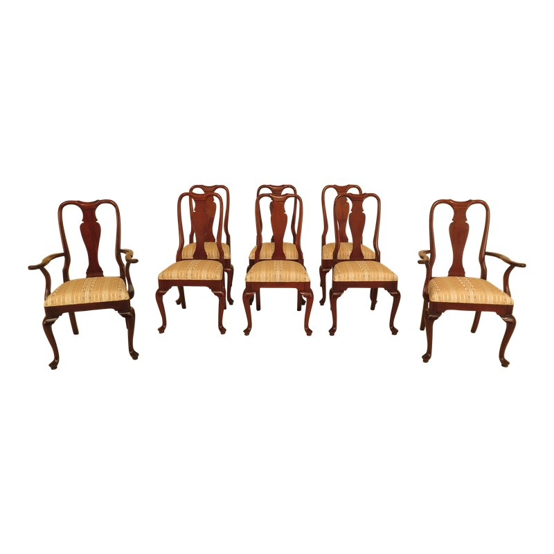 1990s Vintage Councill Craftsmen Style Queen Anne Mahogany Dining