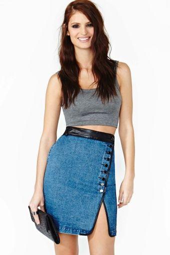 Double Take Denim Skirt