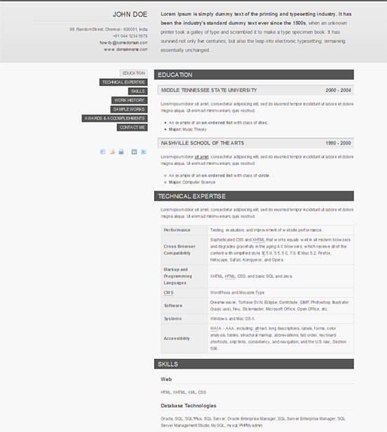 this cv and resume website template features jquery