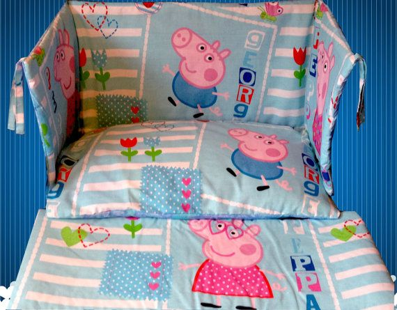 Peppa Pig George Pig Blue Cot Crib Bedding Set Curtains By Humybe