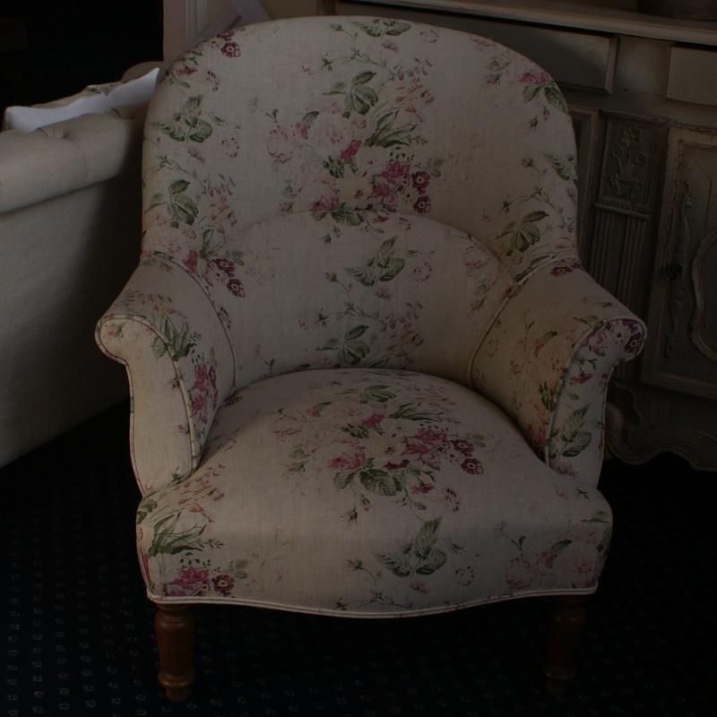 Large Antique French Tub Chair Re Upholstered In Cabbages U0026 Roses  U0027Constance Multiu0027