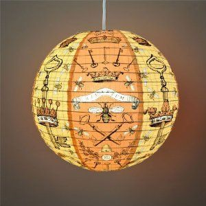 """""""Bees and Keys"""" Decorative Hanging Paper Lantern with Light Kit (up to 40 watt bulb) - 13.75"""" Diameter - With 15' Cord - Recycled Paper"""