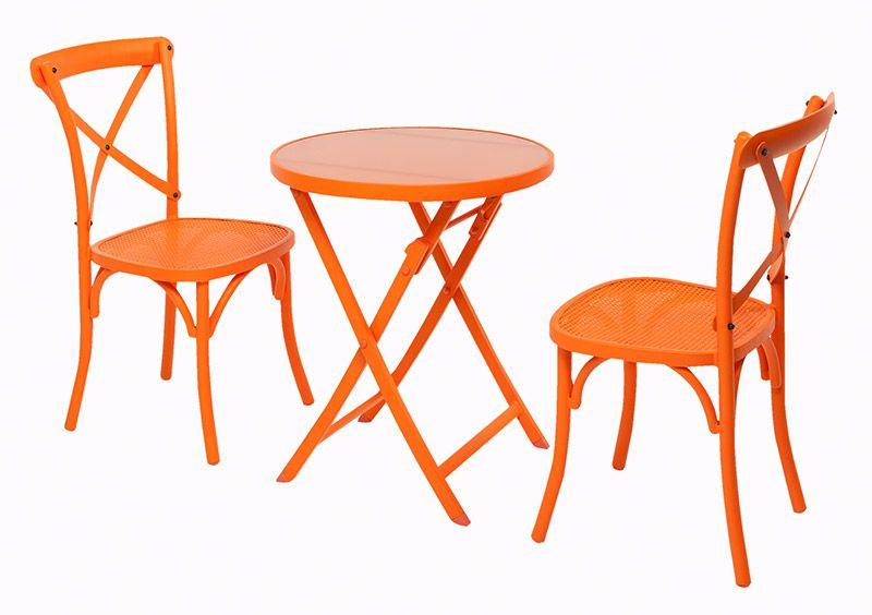3 Pce Ergo Amp Vintage Mesh Aluminium Dining Setting Orange