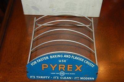 Original Vintage Metal Pyrex Pie Plate Store Display Rack PYREX ADVERTISING STORE DISPLAY