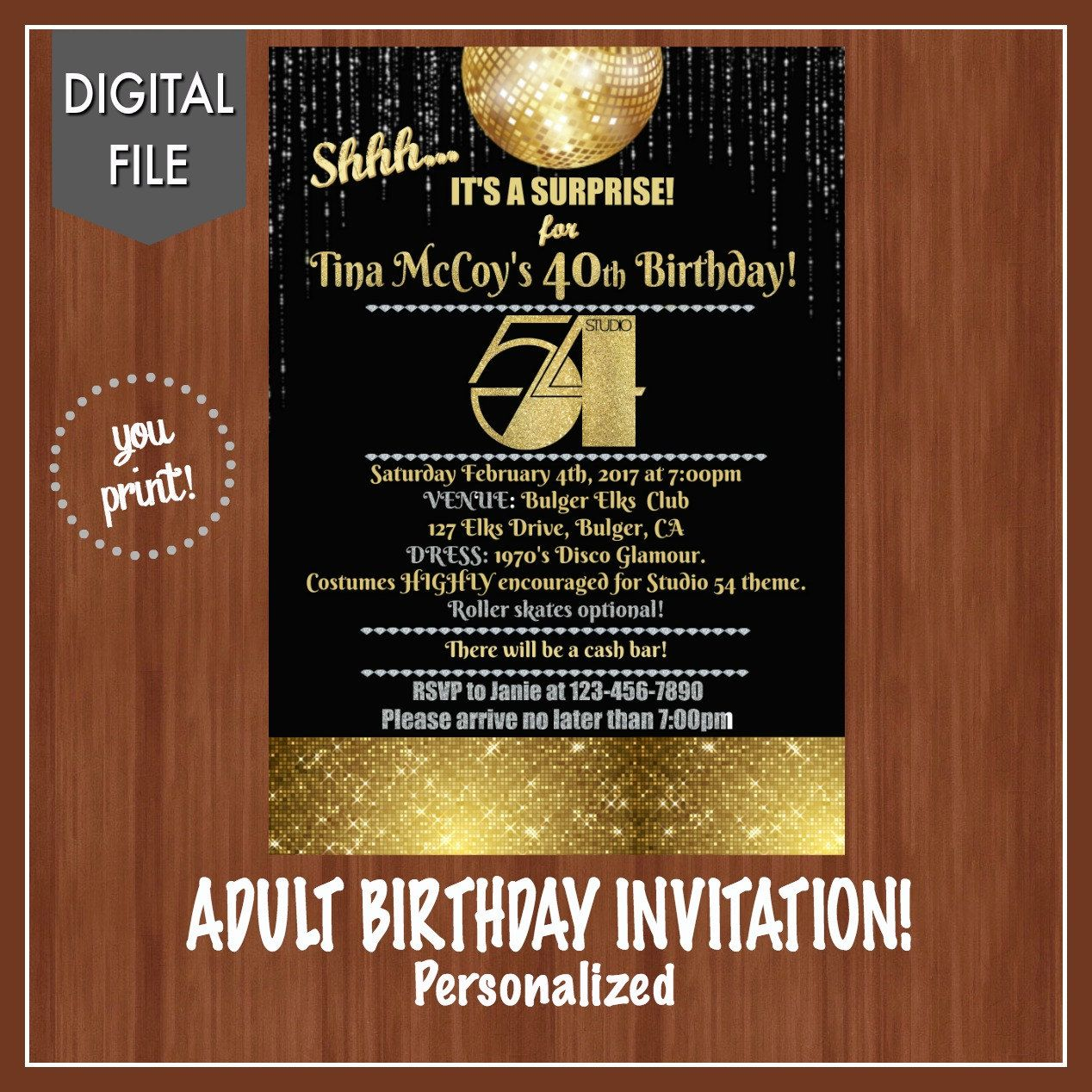 Studio 54 Birthday Party Invitation - Studio 54 Invitation - Fun ...