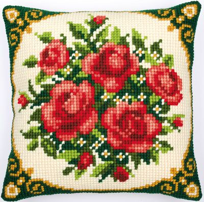 Chunky Cross Stitch Cushion Front Kit  Collection D/'Art Red /& Black 40x40cm