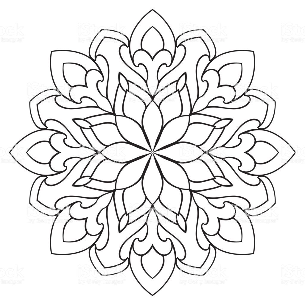 Vector simple mandala with abstract elements, isolated on