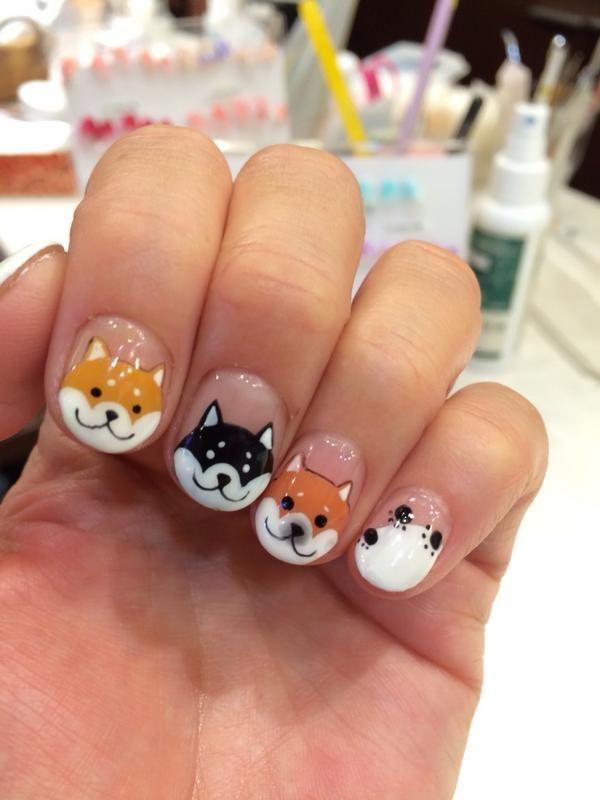 NAILS. - OMG, Shiba Nails! SHIBA. NAILS. !!!!!!!! Shiba! Pinterest Nail