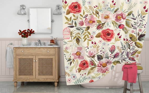 Boho Shower Curtain Floral Shower Curtain Watercolor Flowers