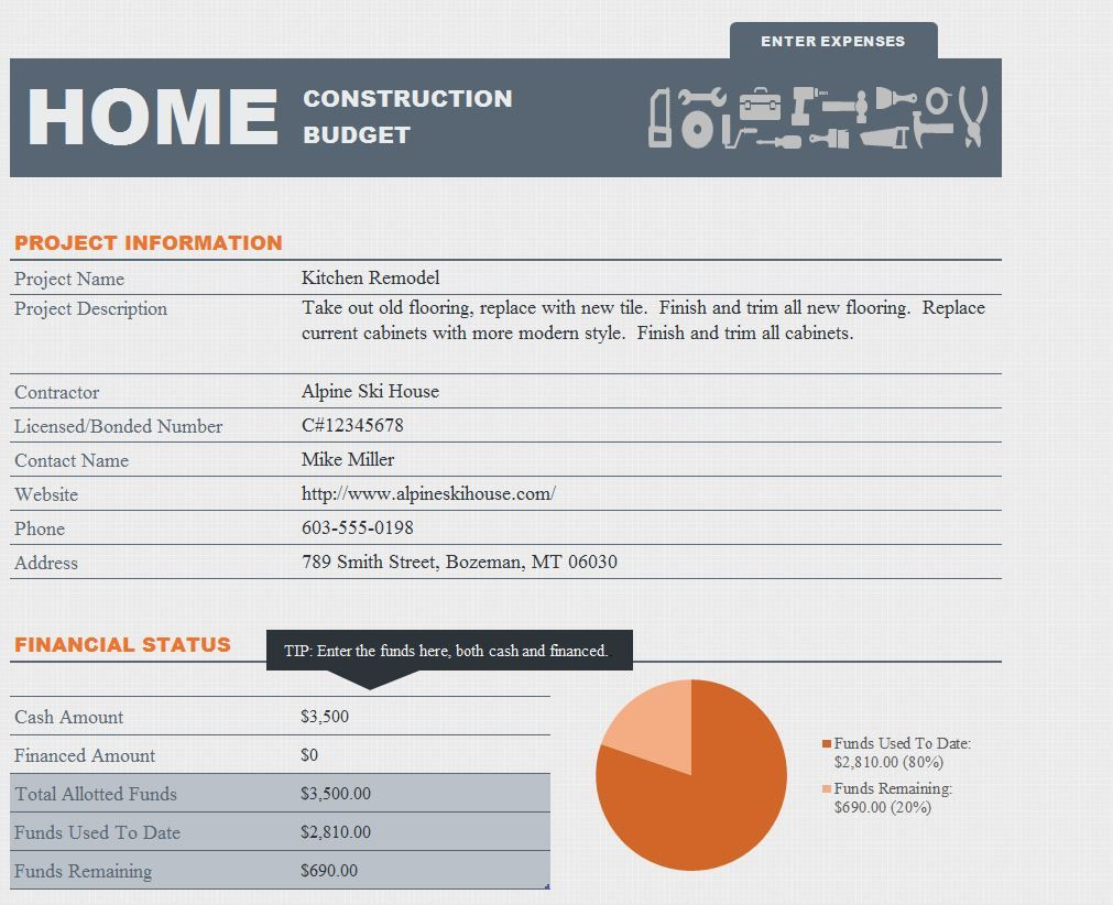Free Home Renovation Budget Template
