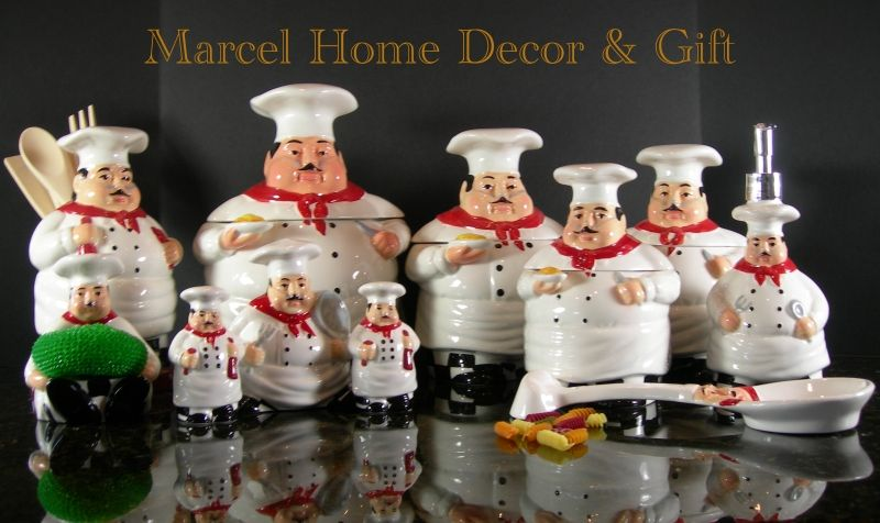 Charming Frog Kitchen Decor   Kitchen Decor Bistro Fat Chef Canisters 15 Pcs Sets