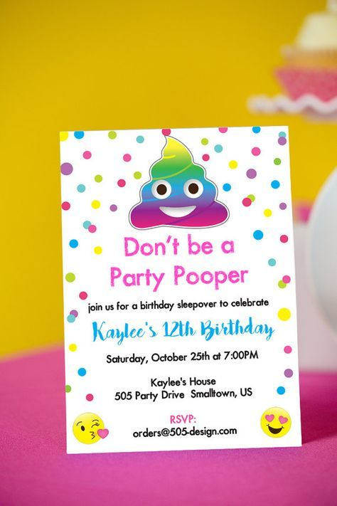 Emoji party pooper invitation instant by printablestudio505 birthday party invitations wording drevio invitations design college graduate sample resume examples of a good essay introduction dental hygiene cover stopboris Image collections