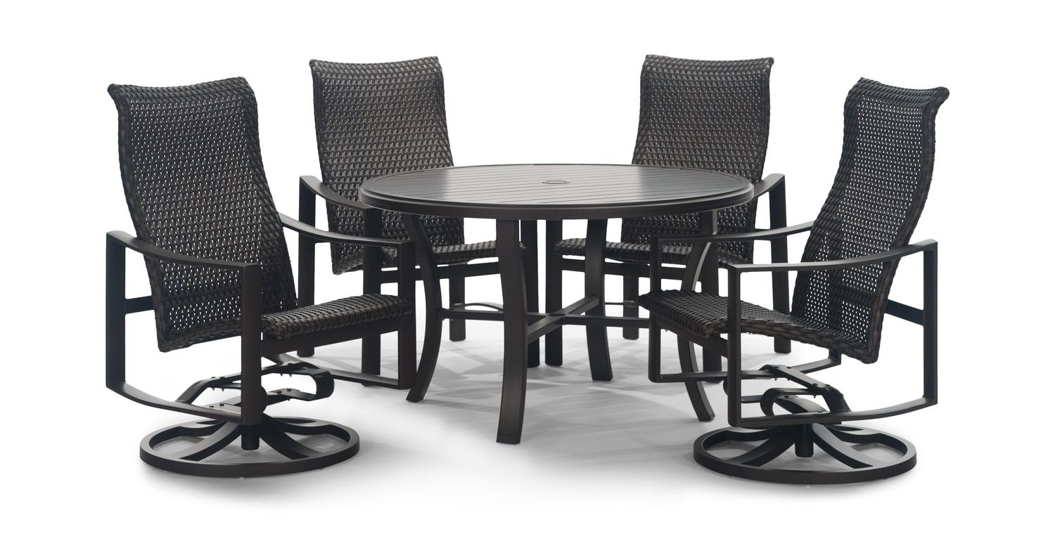 Kenzo 5 Piece Woven Patio Dining Set Slat Top Muebles