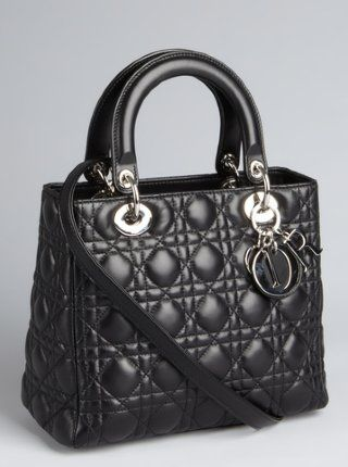 Christian Dior  black cannage quilted lambskin  Lady Dior  medium top  handle bag 9f749a5d3a296