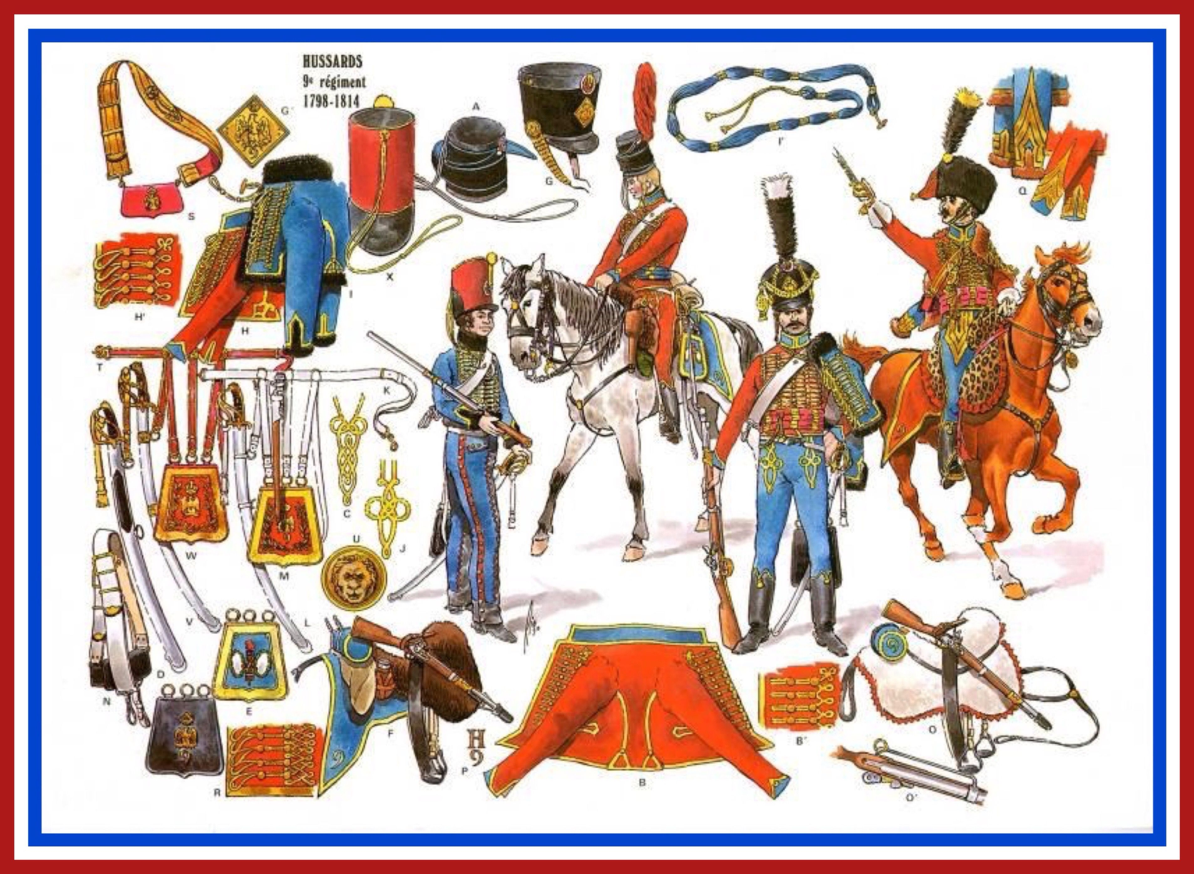 French Hussars of the 9th regiment 1798 to 1814