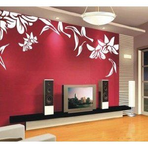 Lily Flower Leaf Flowers Unique Art Stickers Decals Tv Set Decal