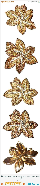 "CoroCraft Rhinestone Brooch Signed Gold Stippled metal Flower Design 2 3/4"" Hip, Edgy Vintage https://www.etsy.com/listing/279995650/"