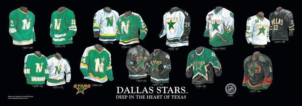 hot sale online 21362 95087 Minnesota North Stars / Dallas Stars uniform history   NHL ...