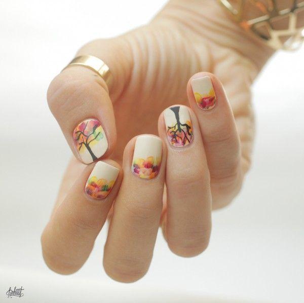55 Seasonal Fall Nail Art Designs | Tree nail art, Tree nails and ...