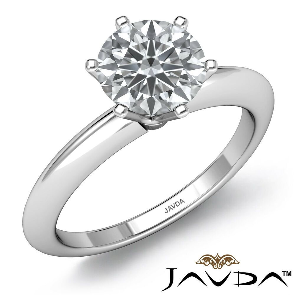 0fcd16f8f19205 Knife Edge Classic Solitaire Six Prong Round Diamond Engagement Ring  1.00ctw.
