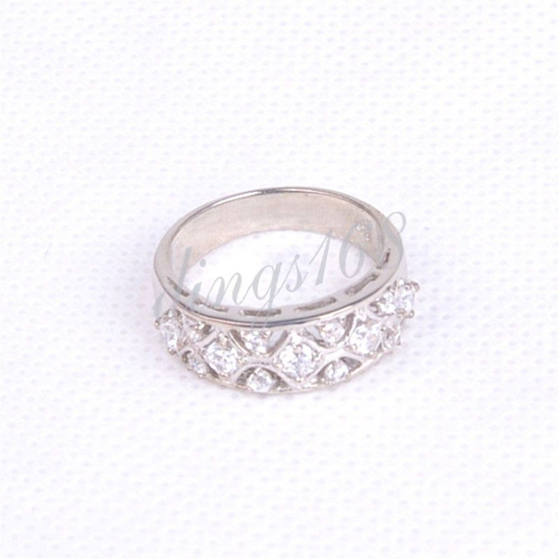 dfa9ff3cfae 925 Sterling Silver Exquisite See-through Open Crystal 8MM Wide Band ...