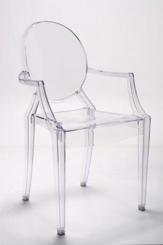 Louis Ghost Chair Inspired Plexiglas Stuhl  Klar Acryl Transparent Mit Armlehnen