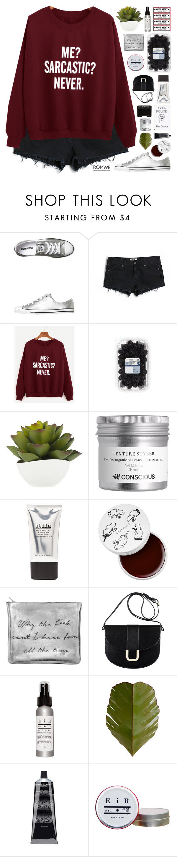 """Never"" by fee4fashion ❤ liked on Polyvore featuring Converse, Victoria's Secret PINK, Stila, too cool for school, Sarah Baily, A.P.C., Varaluz and NARS Cosmetics"