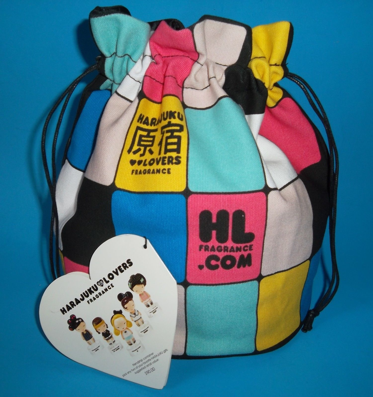 Harajuku Lovers Fragrance Perfume Color Block Canvas Drawstring ...