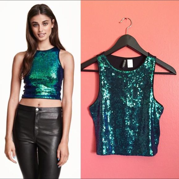 75459fdf293 H&M Iridescent Green Sequin Crop Top Only worn once for a couple hours. In  very
