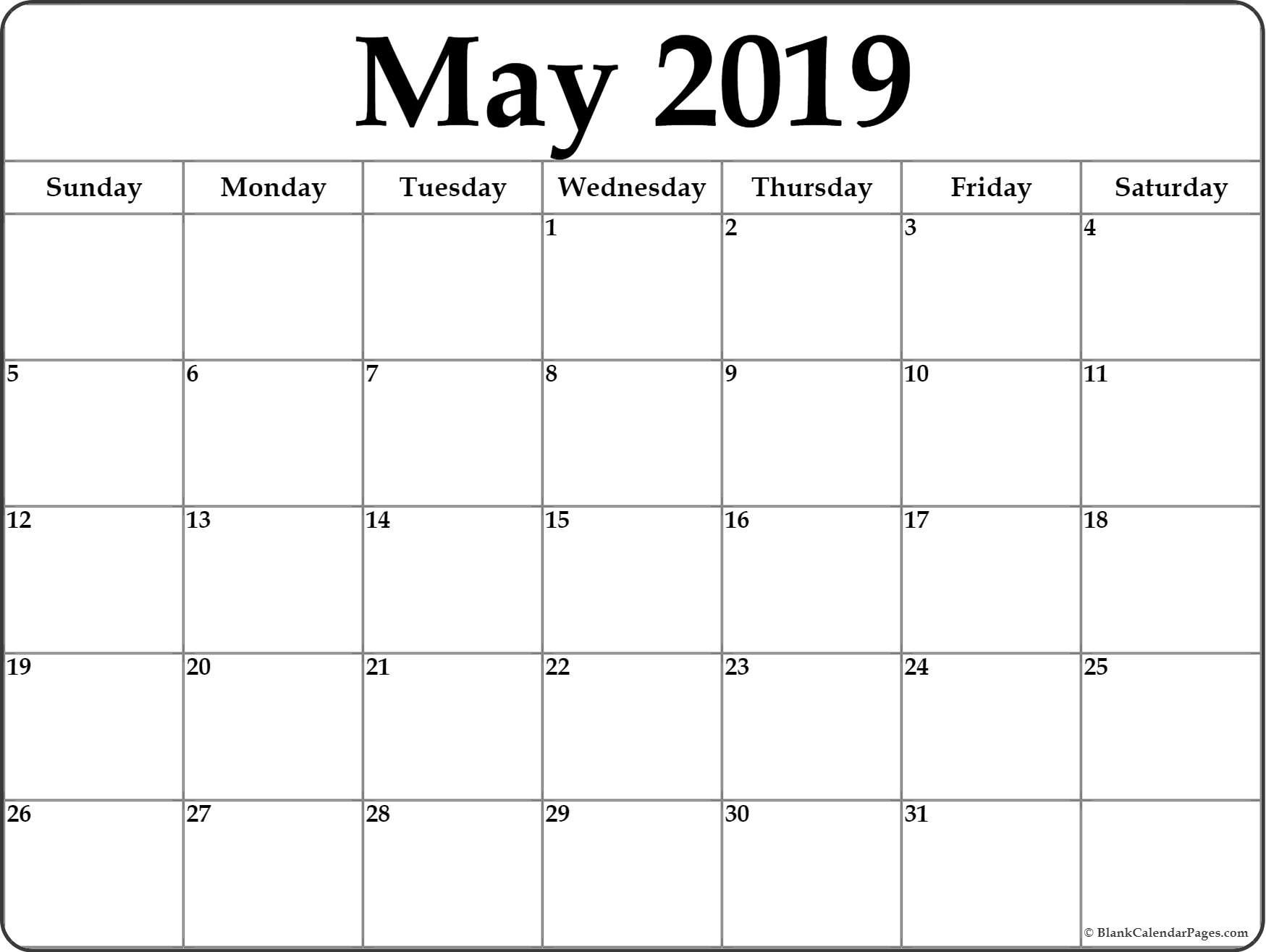 May 2019 Blank Calendar Templates With Images Printable Blank