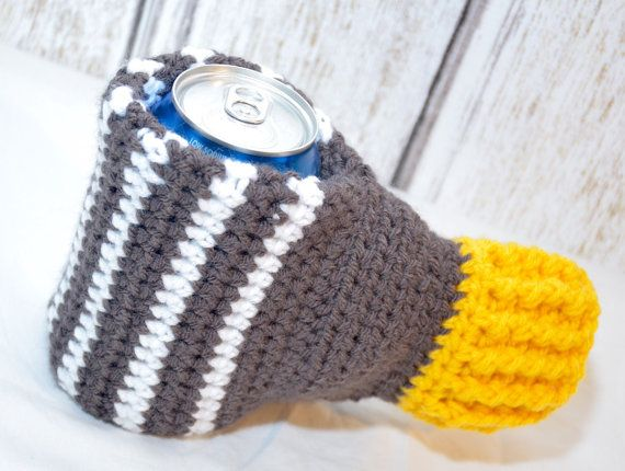 Striped Crochet Mitt Mitten Drink Beverage Drink Beer Koozie Cozie