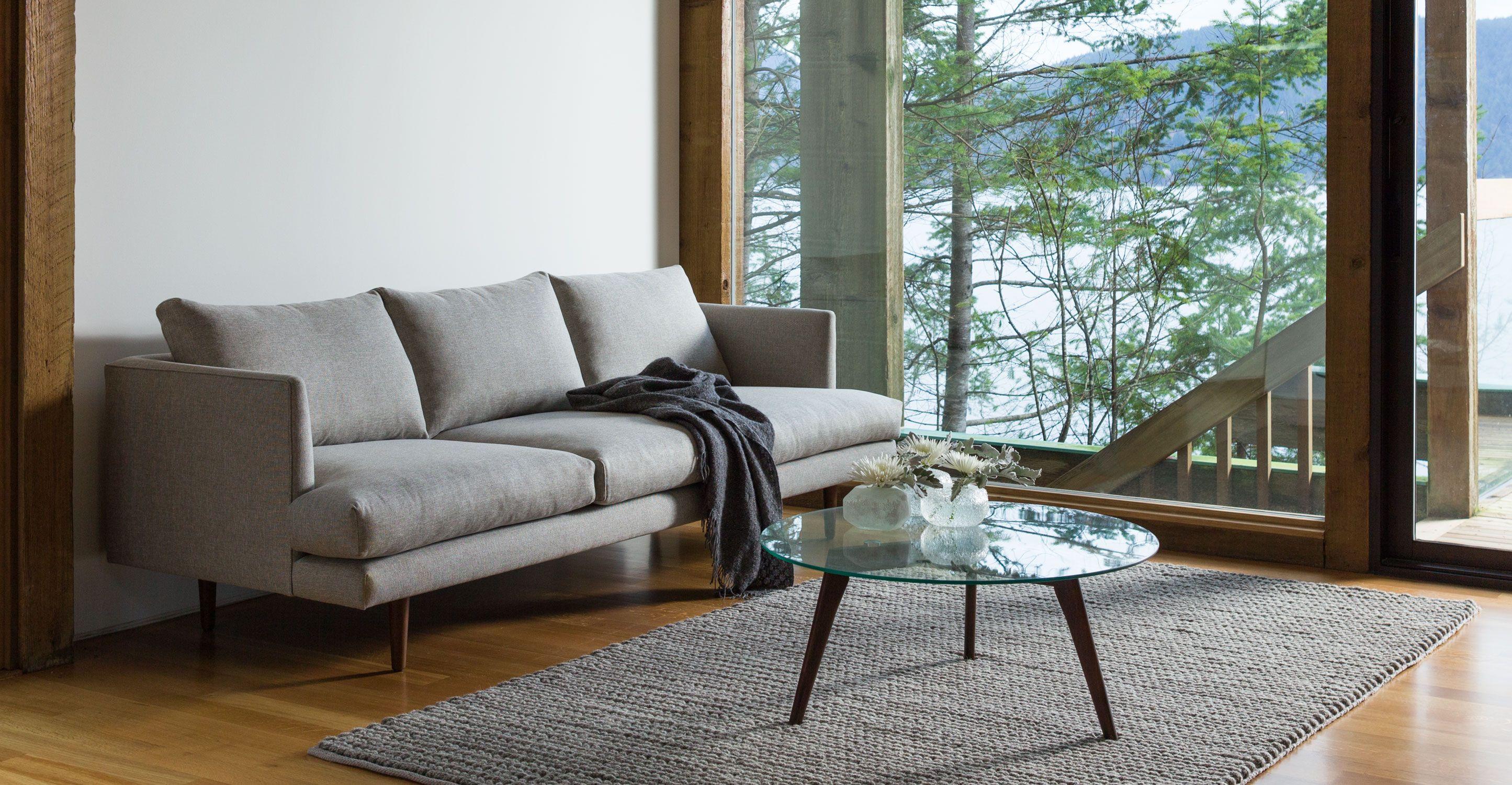 Light Gray Sofa 3 Seater Solid Wood Legs