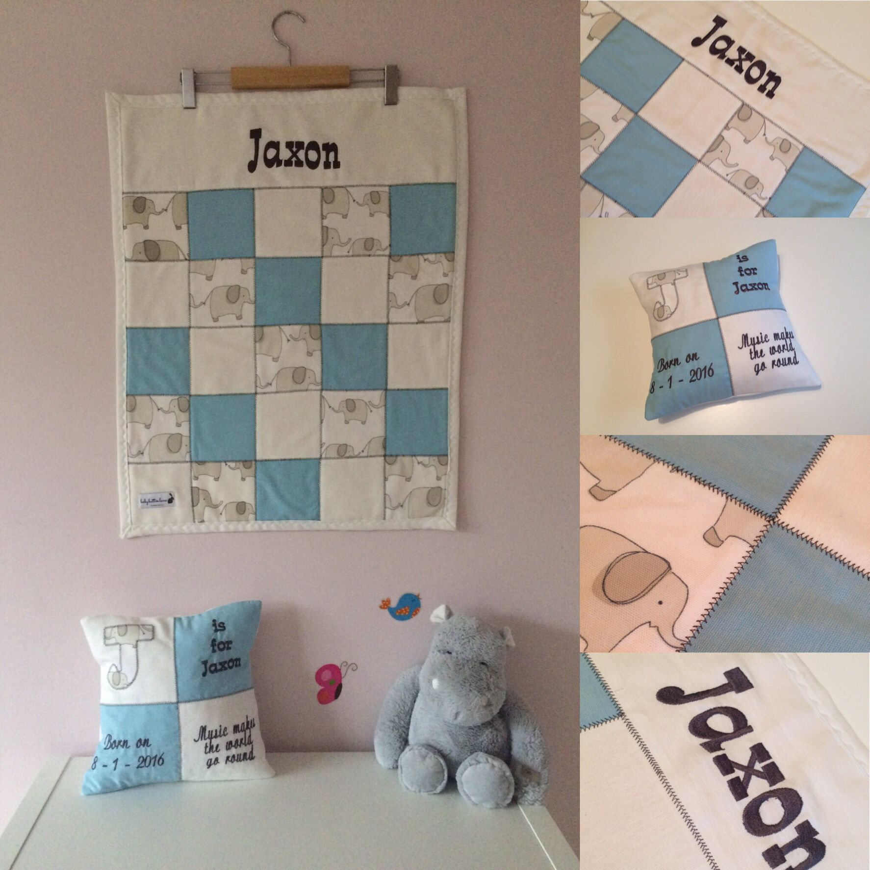 Beautiful Jaxon gift set - perfect gift for a christening, a new born or birthday. You choose your message or leave it to us to create something personal and memorable. #personalised #cushion #giftsets #christening #patchwork #blanket #babyblanket #babyshower