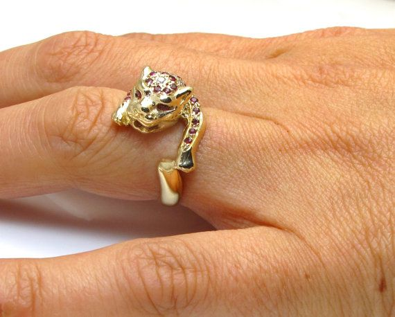 14K Yellow Gold Plate Leopard Ring Sz 8 9