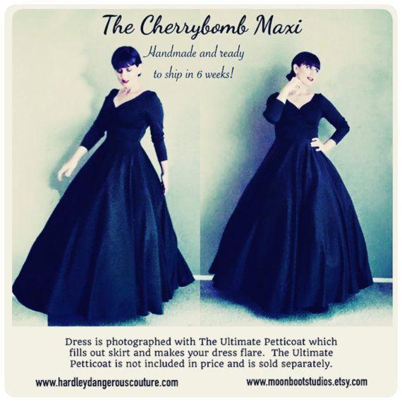 Navy Blue MAXI Dress, Floor Length Rockabilly Mod Pin Up 1950s Style ...