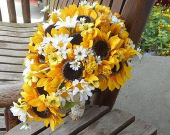 Sunflower Silk Bridal Bouquet Wedding Fall Country Rustic Flowers Burlap
