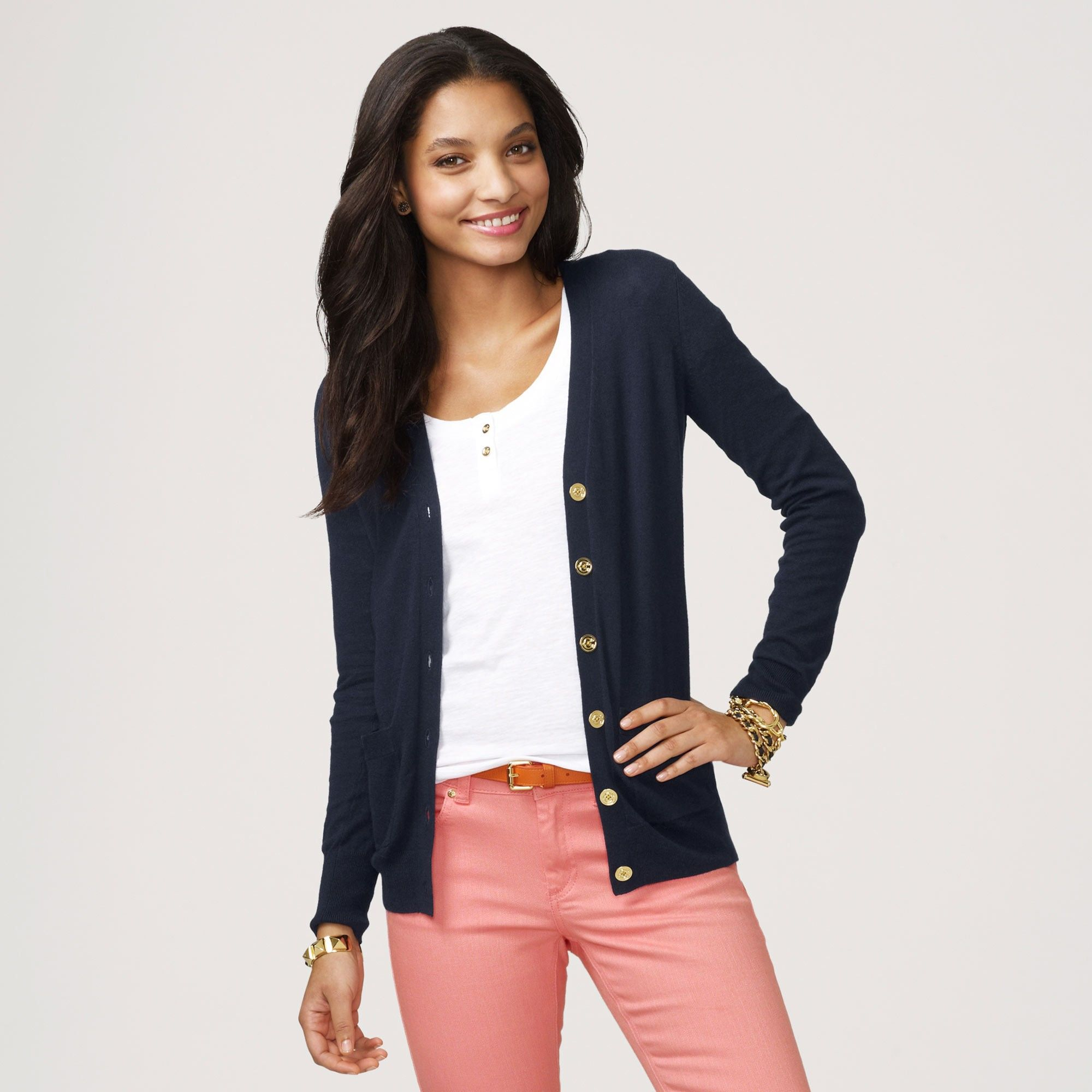 Women's Cardigans - Class Cardigan With Gold Buttons | Colored ...