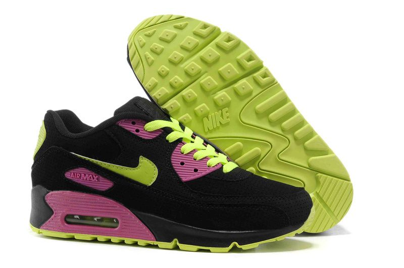 a few days away detailing in stock Nike Air Max 90 Womens Black Pink Lime Green 312334 061 | Nike air ...