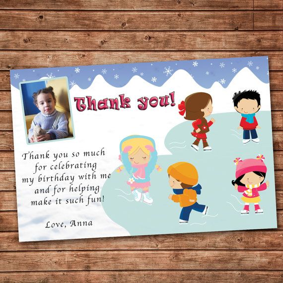 Personalized Any Wording Thank You Card Ice Skating Winter Etsy Thank You Cards From Kids Birthday Thank You Cards Kids Birthday Party Invitations