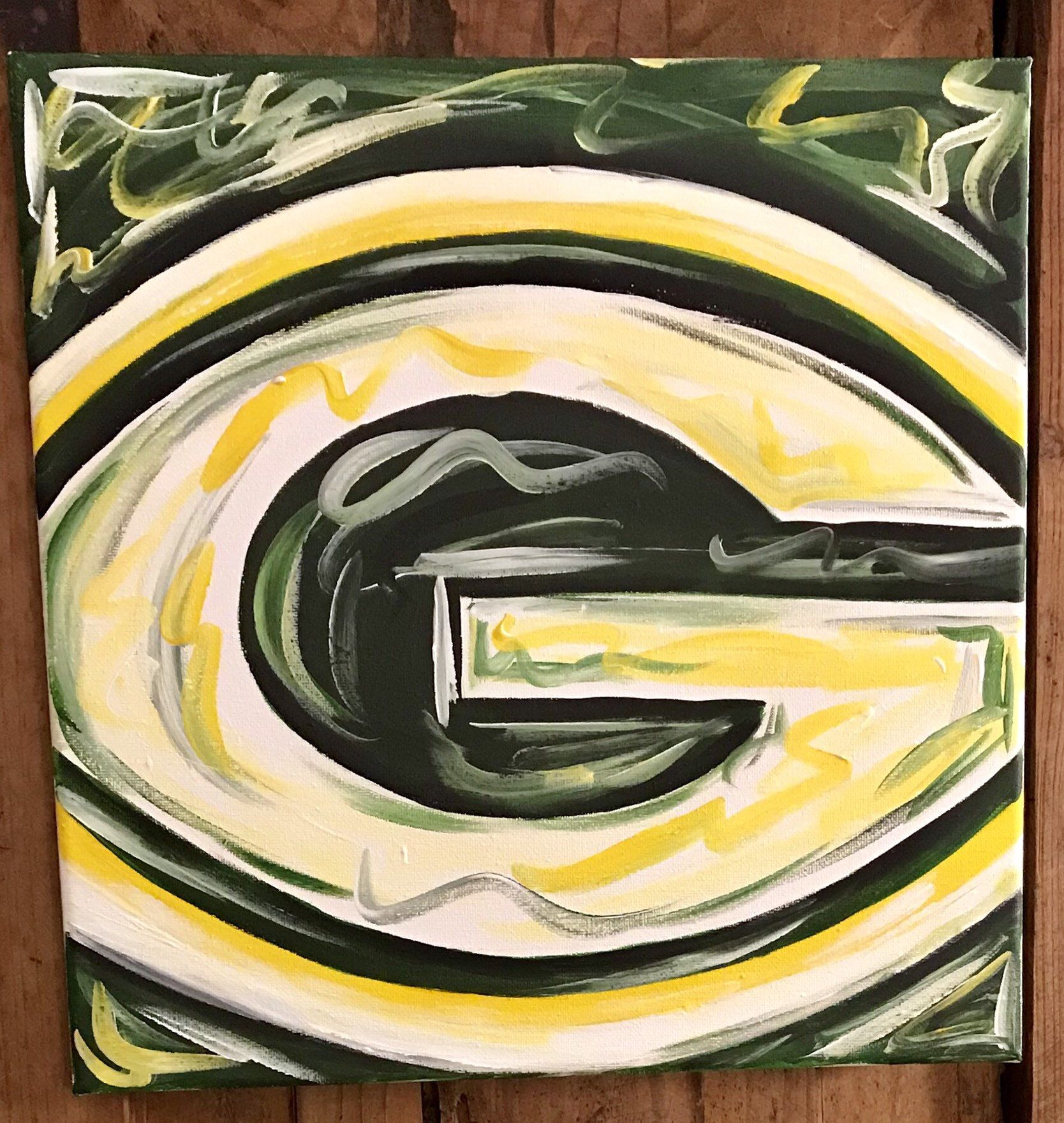 Green Bay Wi Packers Abstract Painting Art Football Abstract Art Painting Abstract Painting Abstract