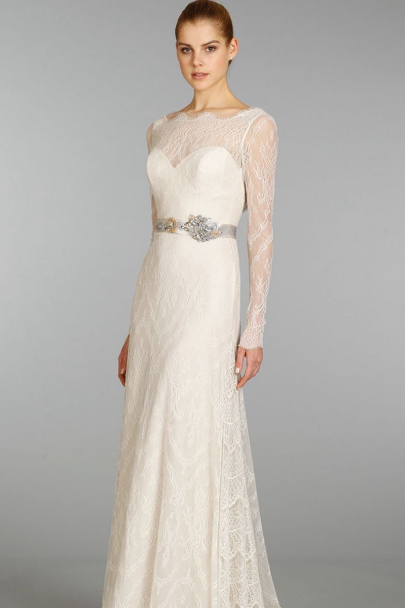 Alluring long sleeves boat neckline lace wedding dress lace