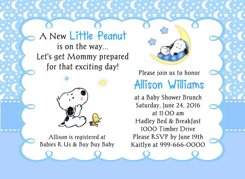 Baby Snoopy Little Peanut Moon and Stars Baby Shower Invitation by ...