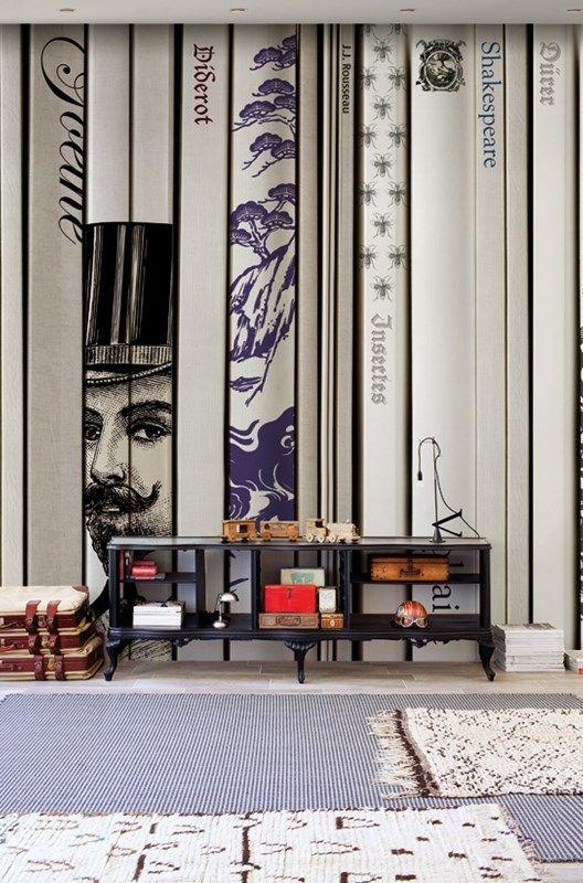mur wall deco papier peint trompe l 39 oeil livres antoine celine pinterest wallpaper. Black Bedroom Furniture Sets. Home Design Ideas