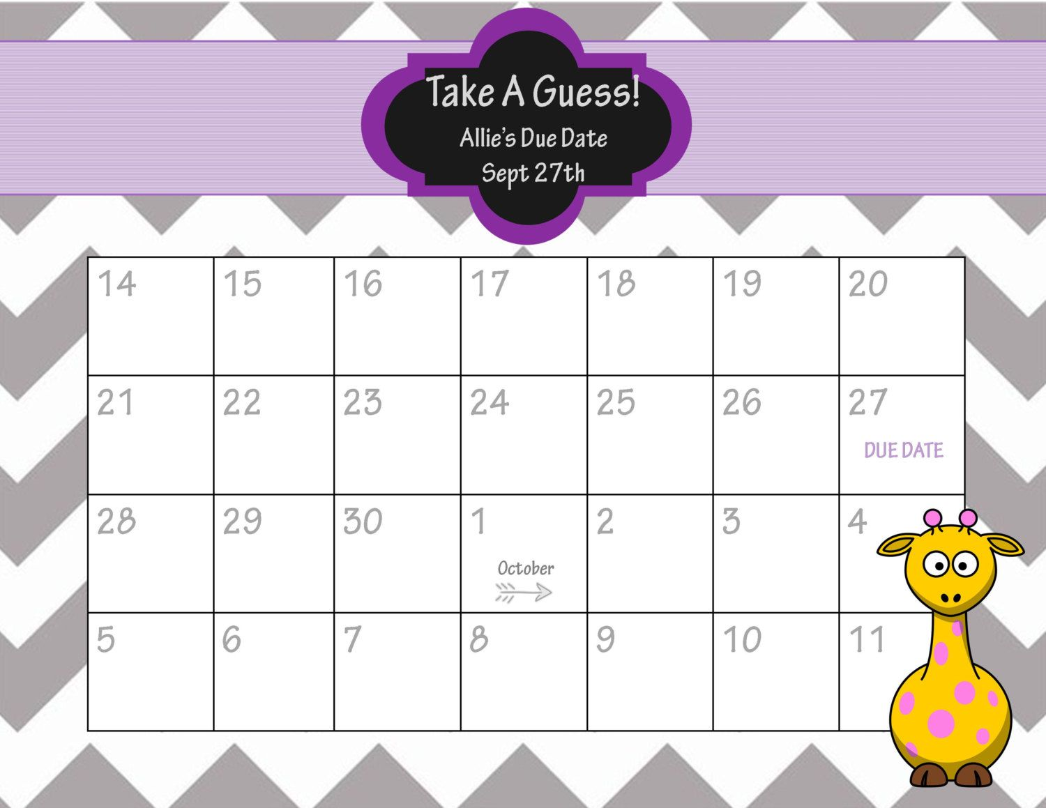 Printable Due Date Calendar  Baby Shower Game  Guess The Date