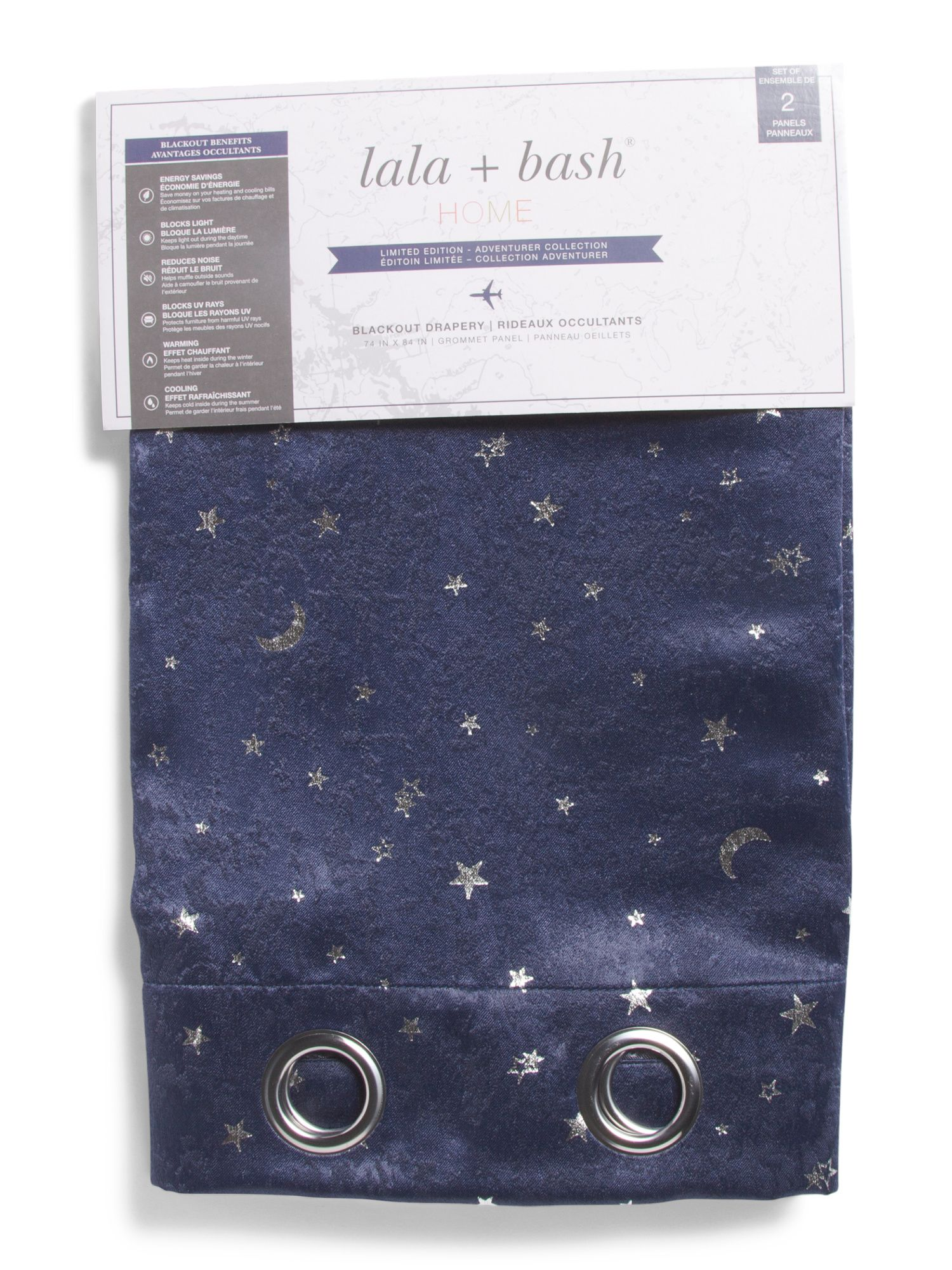 37x84 Set Of 2 Blackout Moon And Stars Curtains Blackout