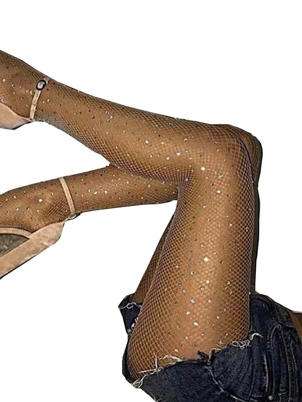efcbce7504730 Betteraim Women's Hollow Out Rhinestone Fishnet Pantyhose Tights at Amazon  Women's Clothing store: