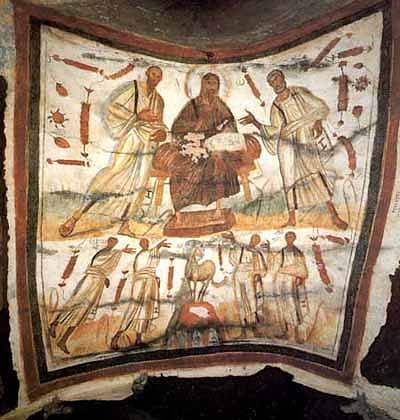 Bearded Jesus between Peter and Paul, Catacombs of Marcellinus and Peter, Rome. Second half of the 4th century.